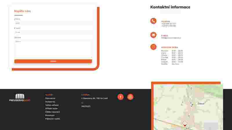 screenshot sekce kontakt - pneuservisdavid.cz